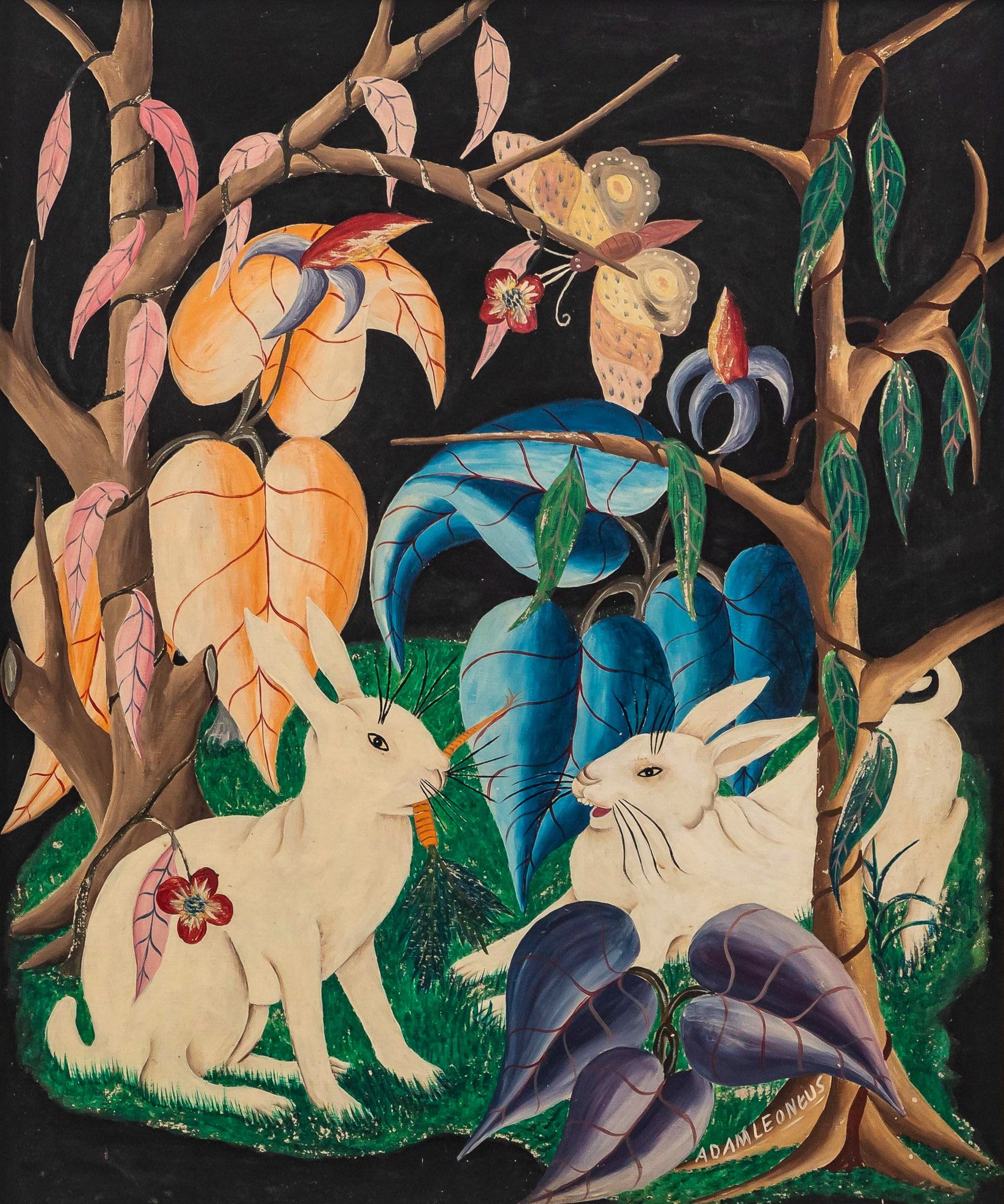 Rabbits with butterfly, 1957